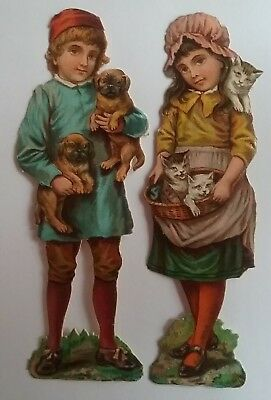 2 Cute Emboss. Victorian Scraps. Girl with Kittens,  Boy with Puppies.12x4cms