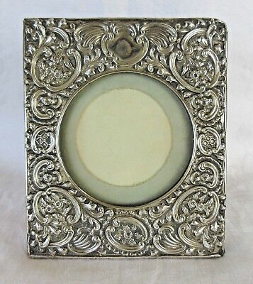 "Antique Sterling Silver Repousse Picture Frame - ROSE Design  5 1/2"" x 6 1/2"""