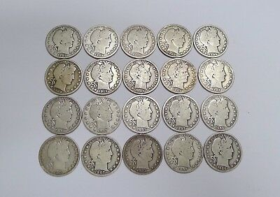 Roll of 20 Silver Barber Half Dollars! FULL RIMS! P,D,S and O Mints! Very Nice!