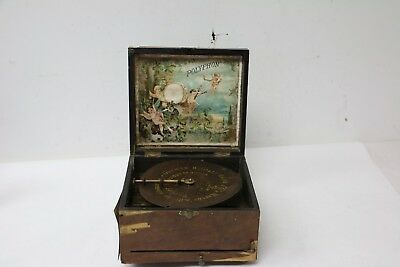 """ANTIQUE 1800's Leipzig Germany Polyphon 8"""" Disc Music Box w/ 1 Music Disc"""