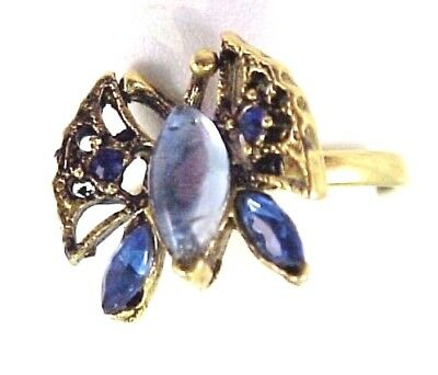 Vintage Blue Rhinestone Butterfly Gold Tone Ladies Ring Adjustable