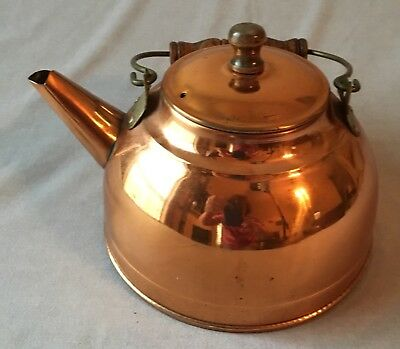 Vintage Copper Kettle Teapot With Wooden Handle and Lid