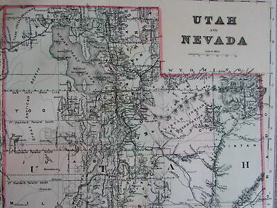 Utah and Nevada 1889 Bradley large oversized hand colored old map