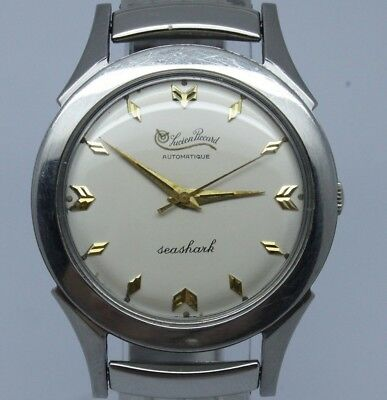 VINTAGE Lucien Piccard Seashark Mens 35mm Steel Automatic Watch = Wonderful Dial