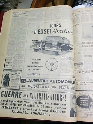 Edsel Corsair 2 doors hardtop 1958 newspaper ad written french language