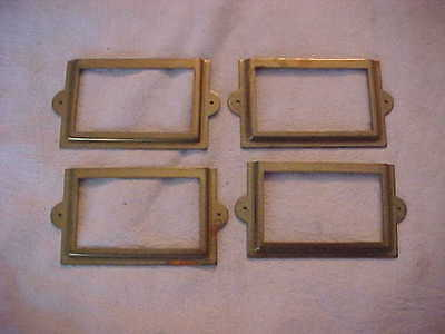 4 Antique Oak Stack Style File Cabinet Drawer Label Holders Hardware
