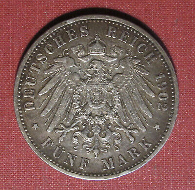 1902A Prussia, German States 5 Mark- Large Silver Coin, Nice Detail, Please View