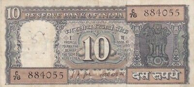 1967-70 India 10 Rupees Note, Pick 58