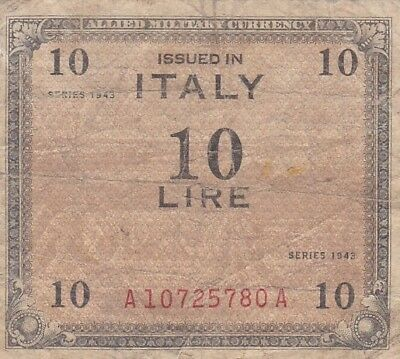 1943 Italy 10 Lire Allied Military Currency Note, Pick 13a