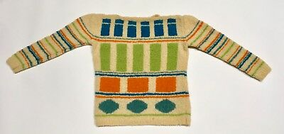 Thrashed Wool Blend Sweater Fluffy Colorful Pullover Geometric Design