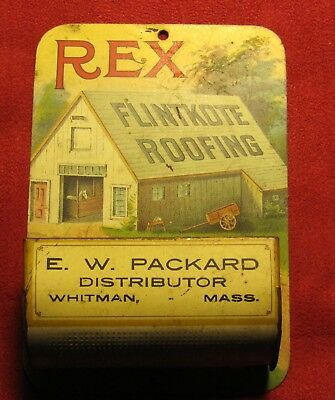 Antique Tin Lithograpgh Ad, Rex Flintkote Roofing Match Safe!!