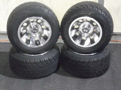 "Club Car Golf Cart 10"" Aluminum Cyclone Wheels Mounted 205/50-10 Street Legal"