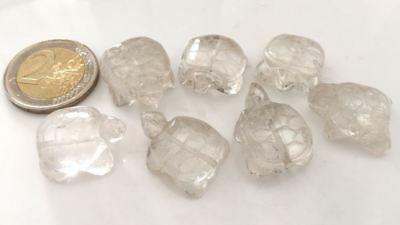 Lot 7 Old Natural Crystal Hand Carved Turtles Beads - Handmade