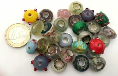 Lot 28 Old Hand Carved Peking Glass Beads - Handmade