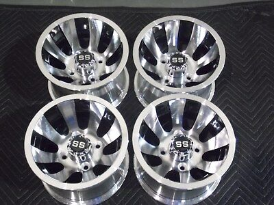 "Complete Set Of Awesome 10"" Golf Cart Revolver Aluminum  Wheels / Rims 10Ar12 6C"