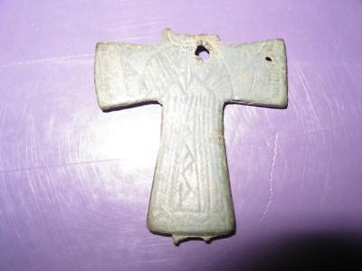 Ancient Byzantine Bronze Cross Pendant RARE !