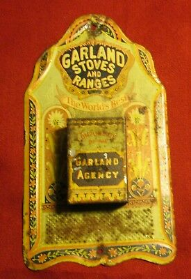 Antique Tin Lithograpgh Ad, Garland Stoves And Ranges Match Safe!!