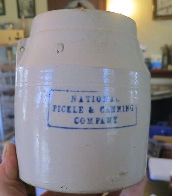 National Pickle And Canning Company Blue Stenciled Pottery Crock / Jar