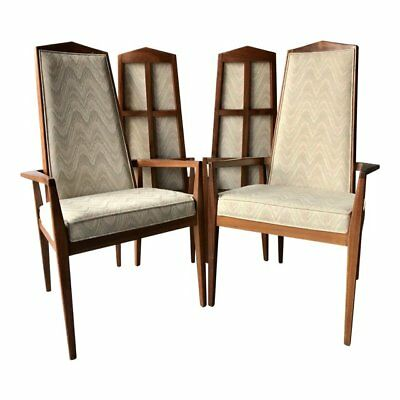 Mid Century Modern Set of Four Foster McDavid High Back Dining Chairs
