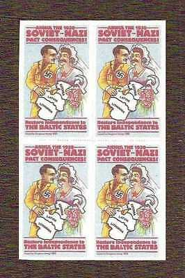 Baltics against the 1939 Hitler-Stalin Pact, cinderella, block of 4 ... MNH **