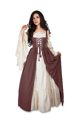 Renaissance Medieval Irish Costume OLD ROSE Over Dress ONLY Fitted Bodice 2/3xl