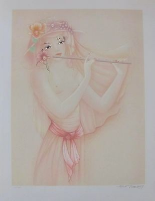 "MARA TRANLONG ""FLUTE PLAYER"" 1975 Hand Signed Limited Edition Lithograph Art"