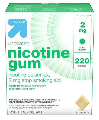 Up&Up Nicotine Gum 4mg Mint 220 Pieces Exp 09/20 New & Sealed