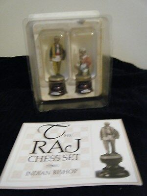 Franklin Mint The Raj Chess Set Pieces Indian Bishop with Shield & Solder Pewter