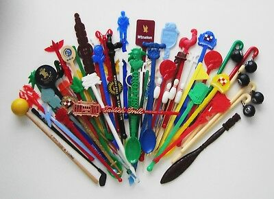 Large Lot Of Swizzle Sticks--Wooden Knocker**cruise Lines**foreign**figural**