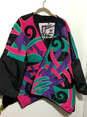 VTG Design Judith Roberts Embroidered Pink Patchwork Abstract Art Mexico Jacket