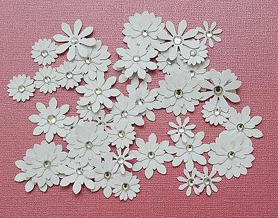 Flower Embellishments All WHITE CARD-STOCK, approx 40 pieces,with Rhinestones
