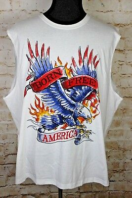6b6432ddd7077 Faded Glory Born Free America Eagle Men s 2XL White Muscle Tee Independence  Day