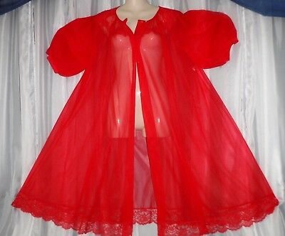 Shadowline,Lg.Vtg.Full sweep,chiffon peignoir,lingerie,cherry red,nightie,sleepw