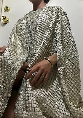 Vtg CUSTOM Heavy Beaded Ivory Cream Royal Queen Poncho Cape Jacket