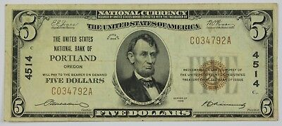 1929 Five Dollar National Bank of Portland Oregon $5 Bill Currency Note US P3R
