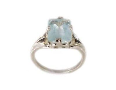 Antique 3ct Seawater Aquamarine Emerald Cut Ancient Mariner Talisman Silver Ring