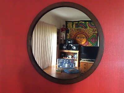 Stunning CHISWELL LARGE ROUND  MIRROR  WOODEN EDGE RETRO VINTAGE