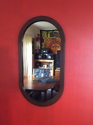 Stunning CHISWELL LARGE OVAL MIRROR  WOODEN EDGE RETRO VINTAGE