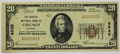 1929 Twenty Dollar Drovers National Bank of Chicago IL $20 Currency Note US P3R