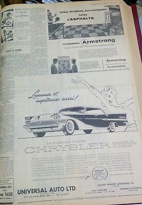 Chrysler New Yorker newspaper ad clipping March 1958 text french language