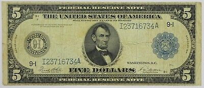 1914 Five Dollar Federal Reserve Note Minneapolis MN Large Bill $5 Currency P3R