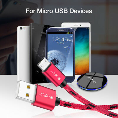 RAXFLY Long Braided Micro USB Data Charging Cable For Android Samsung LG