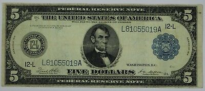 1914 Five Dollar Federal Reserve San Francisco CA Horseblanket $5 Currency P3R