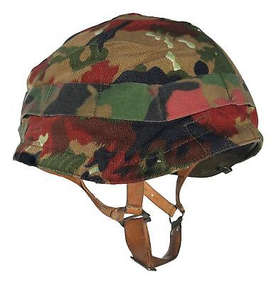 Swiss M1971 Steel Helmet with Alpenflage Camo Cover- Used
