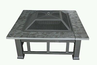 FoxHunter Outdoor Garden Fire Pit Firepit Brazier Square Stove Patio Heater BBQ