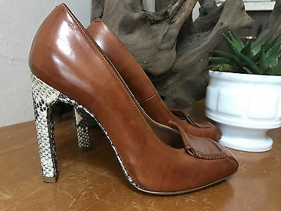 f9a8236f32f3 DRIES VAN NOTEN Brown Leather And Python Heels 8 -  250.00