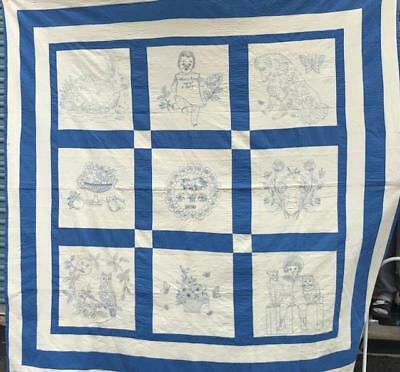 "FOUND IN LANCASTER COUNTY, PA   BLUE & WHITE EMBROIDERED QUILT  1930  84""x 79"""