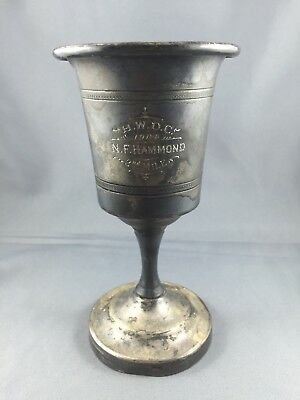 """Vintage 1904 SILVER PLATED TROPHY CUP H.W.D.C. """"N. F HAMMOND"""" 2nd MILE"""