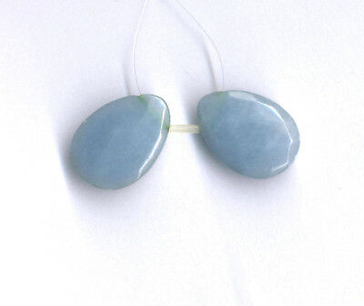 PAIR OF FACETED ANGELITE TEARDROP PENDANT BEADS - 28x20x6MM - 2280