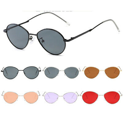 1fca6c97c9 Mens Women Retro Vintage Small Oval Sunglasses Metal Frame Shades Eyewear  Lens